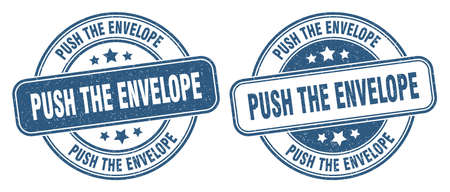 push the envelope stamp. push the envelope sign. round grunge label