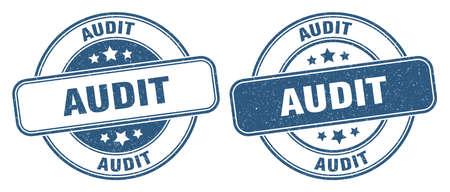 audit stamp. audit sign. round grunge label