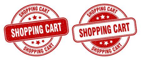 shopping cart stamp. shopping cart sign. round grunge label