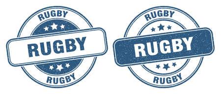 rugby stamp. rugby sign. round grunge label 矢量图像