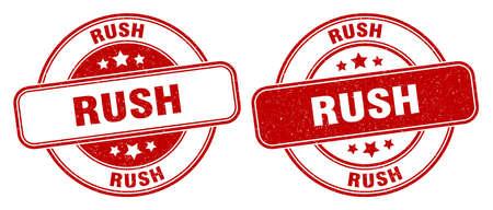 rush stamp. rush sign. round grunge label