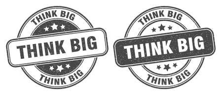 think big stamp. think big sign. round grunge label 矢量图像