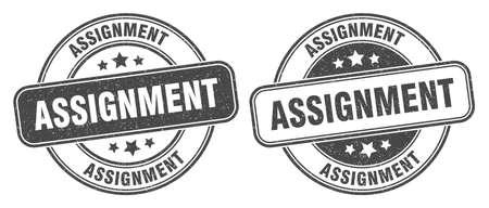 assignment stamp. assignment sign. round grunge label 矢量图像