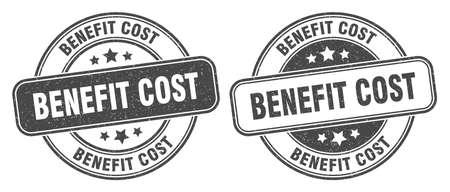 benefit cost stamp. benefit cost sign. round grunge label 矢量图像