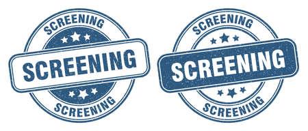 screening stamp. screening sign. round grunge label