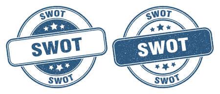 swot stamp. swot sign. round grunge label Illustration