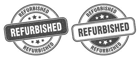 refurbished stamp. refurbished sign. round grunge label
