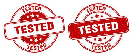 tested stamp. tested sign. round grunge label 矢量图像