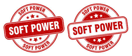soft power stamp. soft power sign. round grunge label 矢量图像