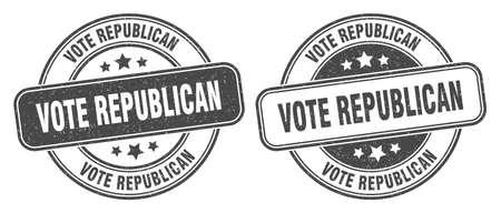 vote republican stamp. vote republican sign. round grunge label