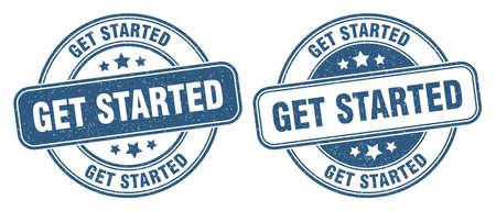 get started stamp. get started sign. round grunge label