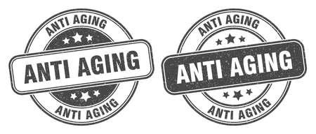 anti aging stamp. anti aging sign. round grunge label Vettoriali
