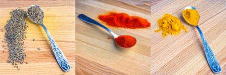 cumin: spice paprika, turmeric, cumin, a spoon on a wooden table