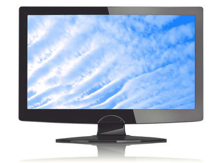 TV on a white background with an image of the sky photo