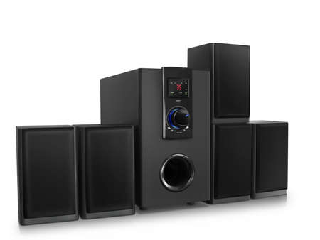 audio speakers with a subwoofer on a white background photo