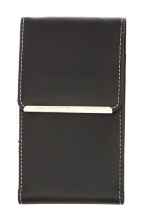 Leather Case in black on a white background closeup photo
