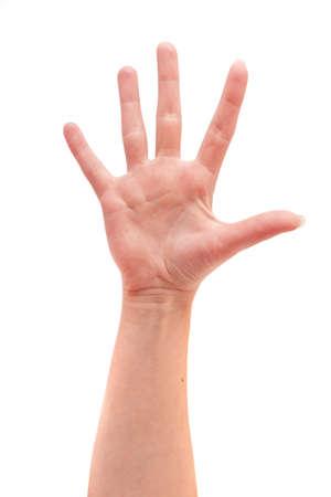 Weibliche Hand zeigt fünf auf einem weißen Hintergrund
