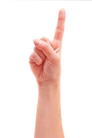 hand showing the number-one on a white background Stock Photo - 11311327