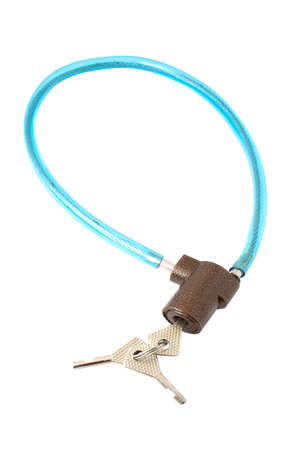 BICYCLE CABLE LOCK blue with three keys on a white background photo