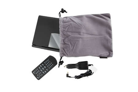 Portable Dvd in a case with remote control and auto charging from the top view photo