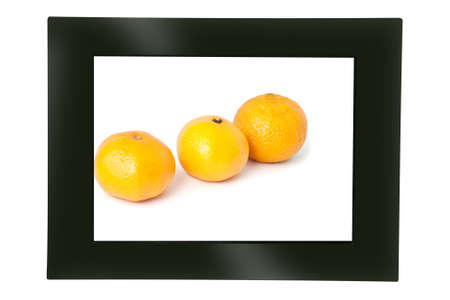 Digital photo frame with the image of 3 tangerines on white background photo