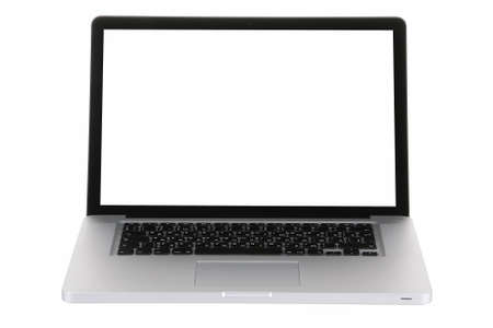 Laptop computer black and gray on a white background with a white screen