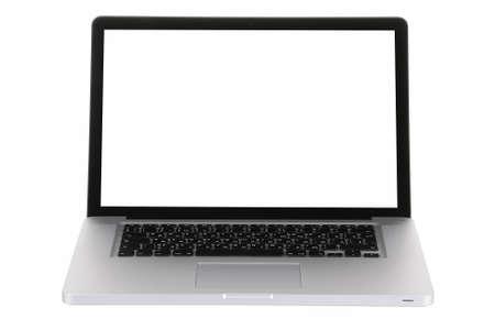 Laptop-Computer schwarz und grau auf weißem Hintergrund mit einem weißen Bildschirm