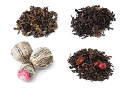 Four different tea closeup on white background photo