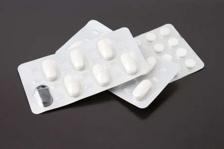 Pills drei Packungen a close-up mit einem leeren