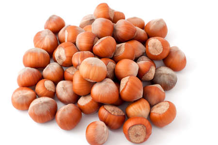a lot of hazelnuts closeup on white background