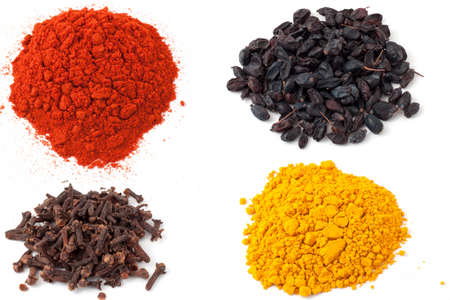 Spice turmeric, cloves, barberry, red pepper on a white background Stok Fotoğraf