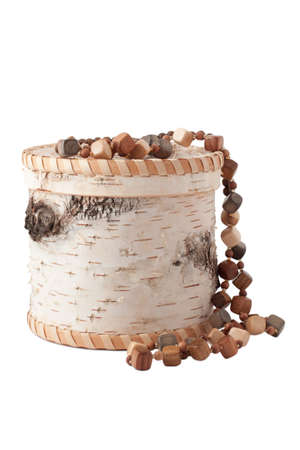 The casket of birch bark and wooden beads