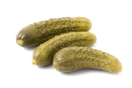 Three pickles on white background Stok Fotoğraf