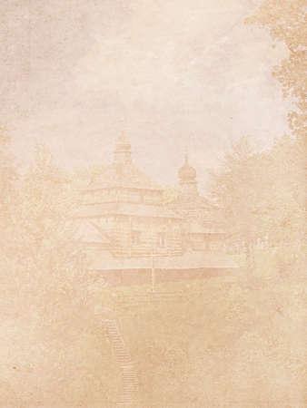 Eine abstrakte Hintergrund einer alten Kirche auf einem Hintergrund von Wolken