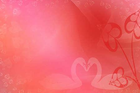 Hintergrund Valentinstag mit Schwänen und Herzen