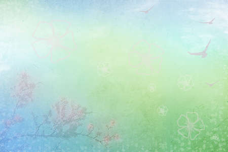 Abstract background with spring flowering branch and flying birds