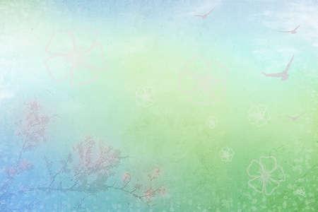 Zusammenfassung Hintergrund mit Feder blühenden Zweig und fliegenden Vögeln Lizenzfreie Bilder