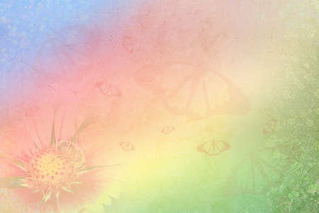 Abstract background with summer flowers and butterflies photo