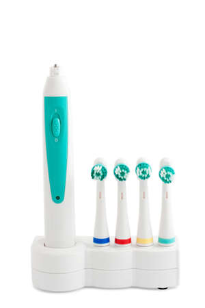 Electric toothbrush with nozzles on a white background Stok Fotoğraf
