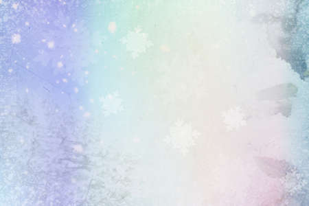 Abstract background with winter snow-capped trees and falling snowflakes