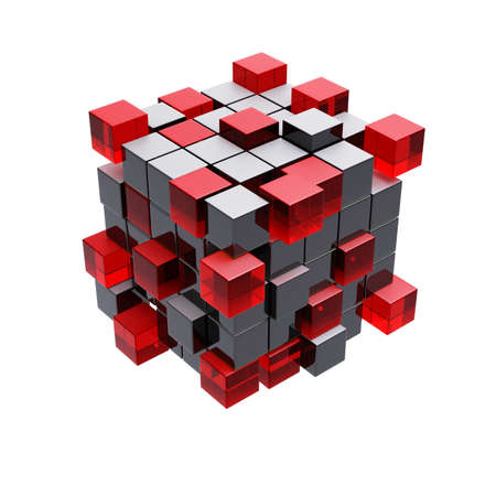 Cubes construction isolated on white 3d model photo