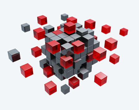 cubes: Cubes construction isolated 3d model Stock Photo