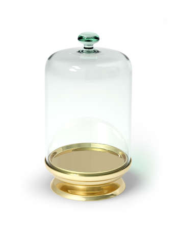 Gold stand with glass bell isolated 3d model photo