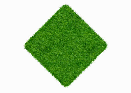 grass area: Empty green grass blank isolated 3d model Stock Photo