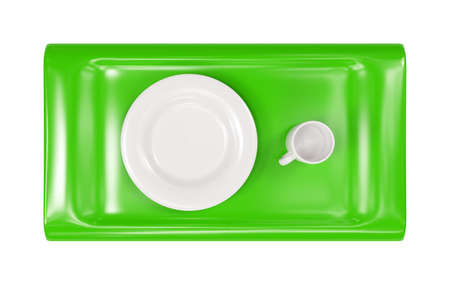 Green tray with empty cap and plate isolated 3d model photo