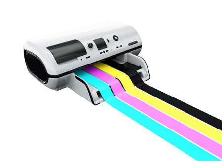 Ink-jet printer with printed CMYK lines isolated on white 3d model