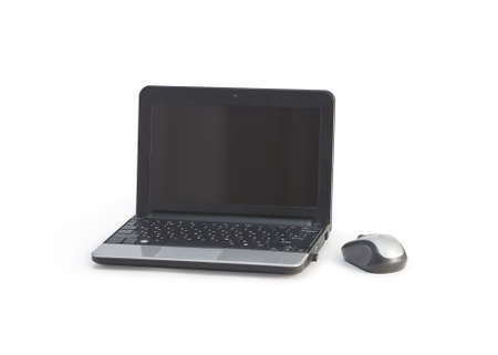 Netbook with optical mouse isolated on white Stock Photo - 18269689