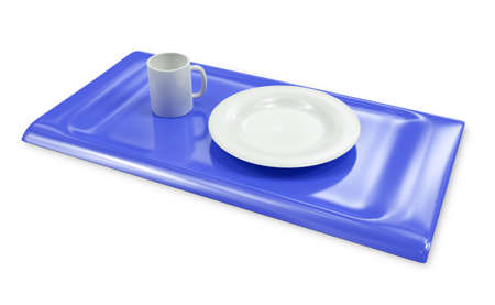 Tray with empty cap and plate isolated 3d model photo