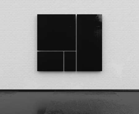 paredes de ladrillos: Sitio vacío con la pared de ladrillo blanco con marcos de color negro modelo 3d
