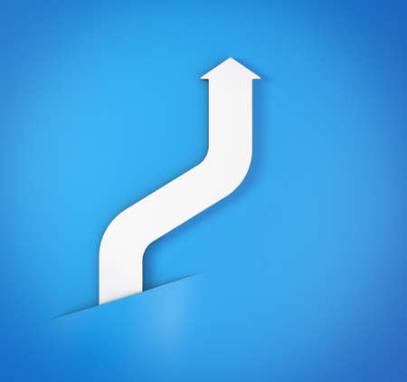 escalating: abstract bent white arrow on blue paper background 3d model